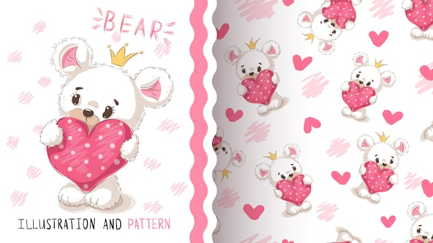 Bear with heart seamless pattern