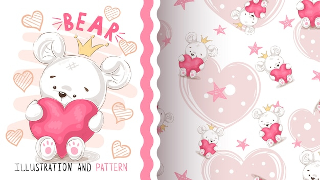 Bear with heart - seamless pattern