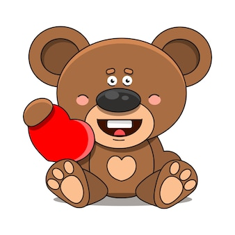 Bear with a heart. suitable for greeting card, poster or t-shirt printing.