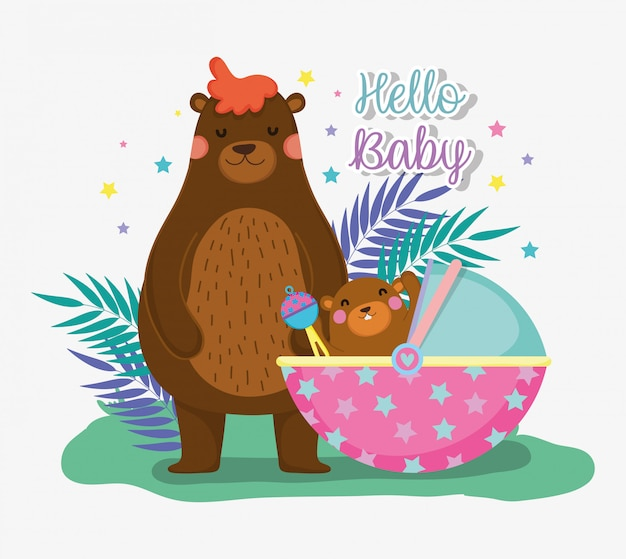 Bear with its son and baby shower celebration
