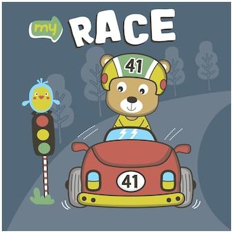 경주용 자동차와 함께 곰 재미 있는 동물 만화
