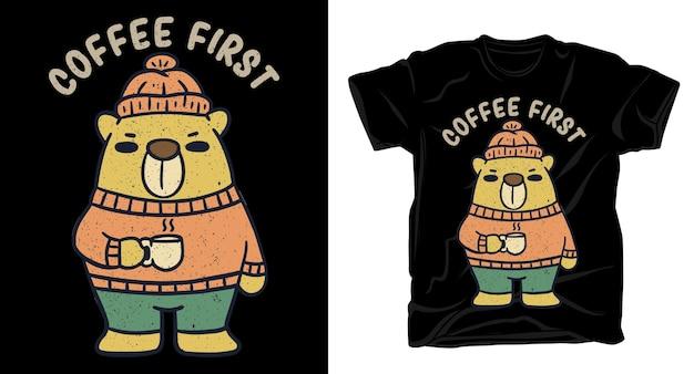 Медведь с типографикой дизайн футболки