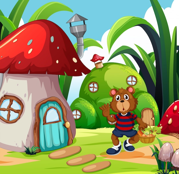 A bear with vegetable basket in fantasy land