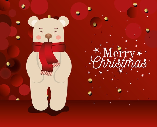 Bear  withmerry christmas lettering on red background  illustration