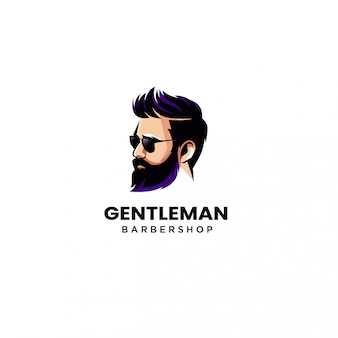 Beard man barber shop logo vector illustration