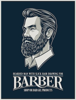 Beard man illustration for hairstyle products and business