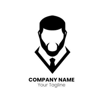 ひげの男のシルエットロゴデザインベクトル