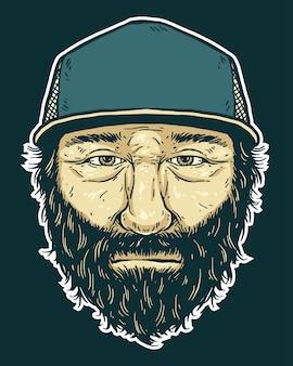 Beard man wearing trucker cap illustration.