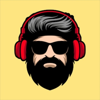 Beard man with glasses and headphone mascot illustration