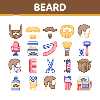 Beard and mustache collection icons set