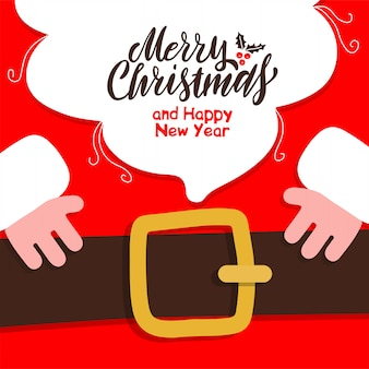 The beard of santa claus with merry christmas and happy new year vector template.