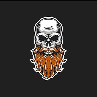 Beard skull vector head illustration