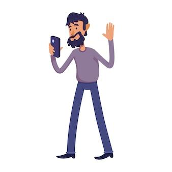Selfie漫画イラストを取ってひげを生やした成人男性。ビデオ通話を持つ男性の人。商業、アニメーション、印刷用の文字テンプレートを使用する準備ができました。コミックヒーロー