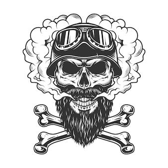 Бородатый и усатый байкерский череп