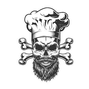 ひげを生やした、ひげを生やしたシェフの頭蓋骨