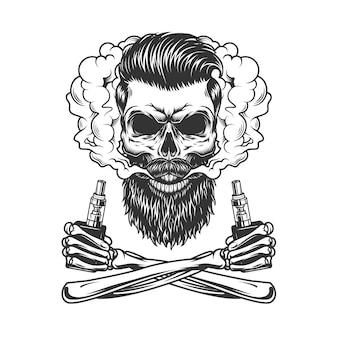 ひげを生やした、ひげを生やしたヒップスターの頭蓋骨