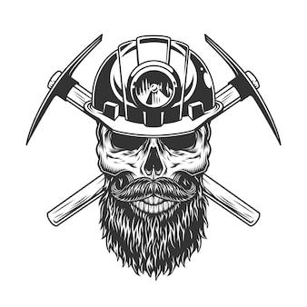ひげを生やした、ひげを生やした鉱山労働者の頭蓋骨