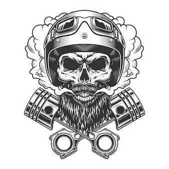 ひげを生やした、ひげを生やしたモーターサイクリストの頭蓋骨