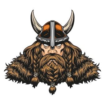 Бородатый и усатый мощный воин викинга в рогатом шлеме в винтажном стиле изолировал векторные иллюстрации