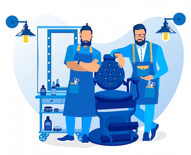 Bearded barber wearing apron with haircut tools