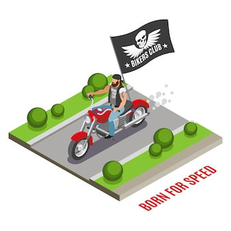 Bearded biker on red motor cycle with black flag with club emblem isometric composition