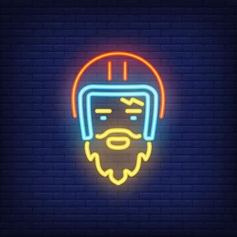 Bearded biker wearing helmet on brick background. neon style illustration.