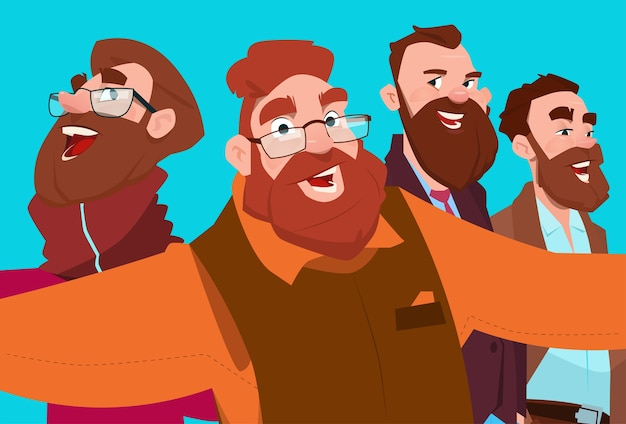 Bearded business man group taking selfie