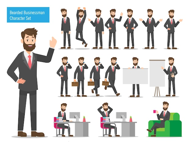 Bearded businessman character design set