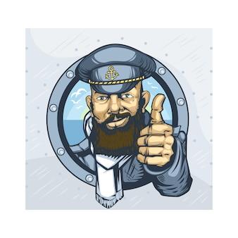 Бородатый капитан корабля показывает палец вверх