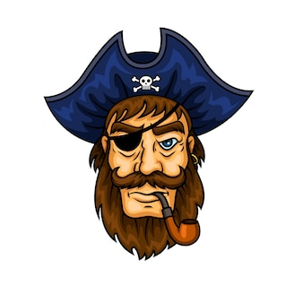 Bearded cartoon pirate captain character smoking pipe wearing eye patch and blue hat with jolly roger symbol.