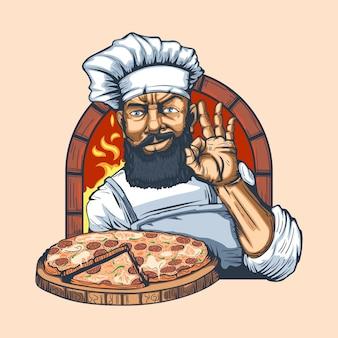 괜 찮 아 요 제스처를 만드는 그의 손에 피자와 수염 된 요리사.