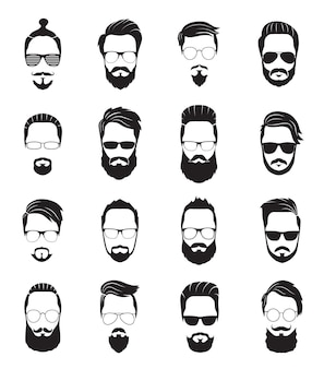 Бородатое лицо. черные бороды мужчин. красивые модельные прически, портрет лицо старого хипстера. изолированные молодые модные парни с прической