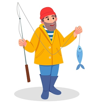 ひげを生やした漁師のキャラクター。黄色いレインコートを着た男。あごひげを生やした男が大きな魚を捕まえた。