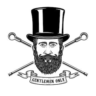 ビンテージ帽子のひげを生やした紳士の頭。ポスター、エンブレム、看板、ラベルの要素。図