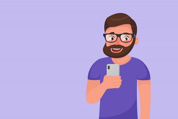 수염 난된 hipster 만화 캐릭터 소셜 미디어는 그의 전화를 사용 하여 탐색. 스마트 폰 장치를 사용하여 웃는 행복한 사람