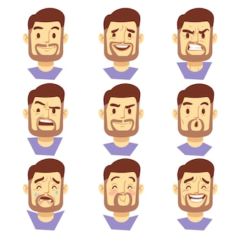 Bearded hipster man character emotions, bearded male heads set. hipster with beard sad or happy, vec
