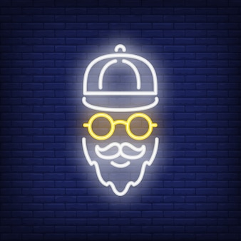 Bearded hipster neon sign