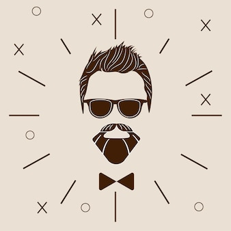 Bearded hipster silhouette. fashion vector illustration eps 10 isolated on white background.