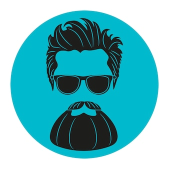 Bearded hipster silhouette fashion vector illustration eps 10 isolated on white background
