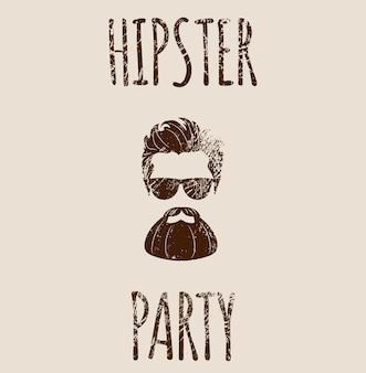レタリングとひげを生やしたヒップスターのシルエット-ヒップスターパーティー。白い背景で隔離のファッションベクトルイラストeps10。