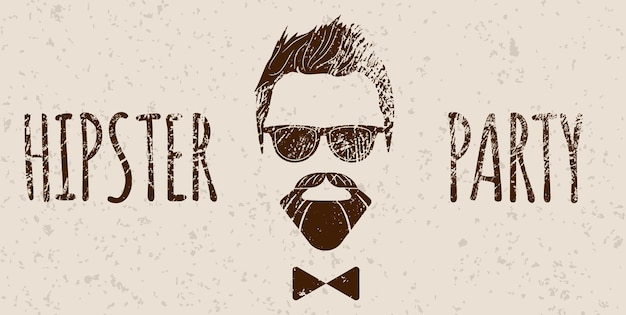 Bearded hipster silhouette with lettering - hipster party. fashion vector illustration eps 10 isolated on white background