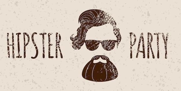 レタリングとひげを生やしたヒップスターのシルエット-ヒップスターパーティー。