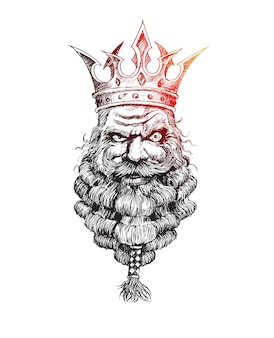 Bearded king with a crown on his head hand drawn sketch vector background