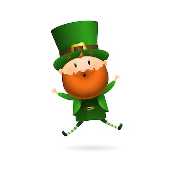 Bearded leprechaun jumping