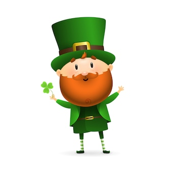 Bearded leprechaun with clover leaf