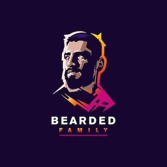 Бородатый дизайн логотипа для значка