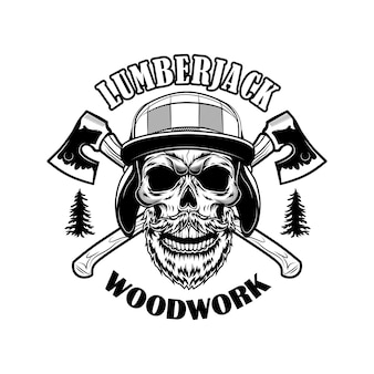 Bearded lumberjack skull vector illustration. head of skeleton with crossed axes and woodwork text. logger or woodsman concept for emblems or tattoo templates