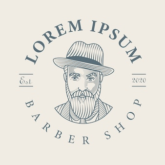 Bearded man barbershop logo hand drawn