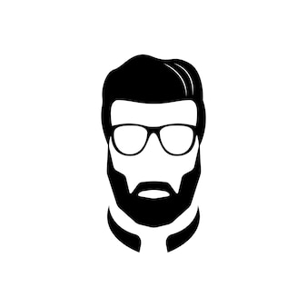 ひげを生やした男の黒と白のアイコン