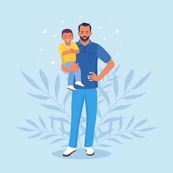 Bearded man carrying young boy. young father holds his child with care and love. happy fathers day. smiling dad holding son